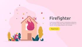 Brandbestrijder die waternevel van slang voor brandbestrijdings brandend huis gebruiken brandweerman in eenvormige, brandweerkorp vector illustratie
