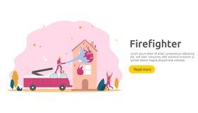 Brandbestrijder die waternevel van slang voor brandbestrijdings brandend huis gebruiken brandweerman in eenvormige, brandweerkorp stock illustratie
