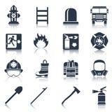 Brandbestrijder Icons Black Stock Foto
