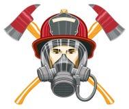 Brandbestrijder met Masker en Assen Stock Foto's