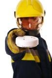 Brandbestrijder met rookdetector Stock Afbeelding