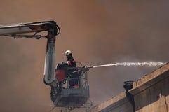 Brandbestrijder op een boom royalty-vrije stock afbeeldingen