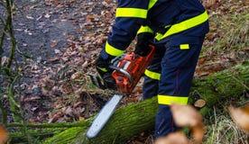 Brandbestrijders in actie na een winderig onweer Stock Foto