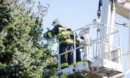 Brandbestrijders in actie na een winderig onweer Royalty-vrije Stock Foto