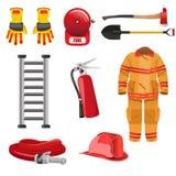 Brandbestrijderspictogrammen Stock Foto's