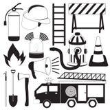Brandbestrijdings Geplaatste Hulpmiddelpictogrammen vector illustratie