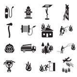 Brandbestrijdings geplaatste pictogrammen stock illustratie