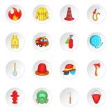 Brandbestrijdings geplaatste pictogrammen, beeldverhaalstijl royalty-vrije illustratie