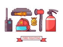 Brandbestrijdings Geplaatste Pictogrammen en Elementen vector illustratie