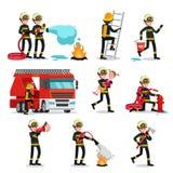 Brandbestrijdings Kleurrijke Geplaatste Pictogrammen stock illustratie