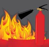 Brandblusapparaat op de vurige achtergrond Royalty-vrije Stock Afbeeldingen