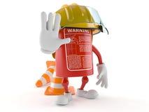 Brandblusapparaatkarakter met verkeerskegel royalty-vrije illustratie