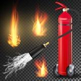 Brandblusapparaatvector Brandende Brandvlam en 3D Realistische Rode Brandblusapparaat van de Metaalglans transparant Stock Afbeeldingen