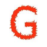 Brandbrief G op witte achtergrond met het knippen van weg wordt geïsoleerd die vector illustratie