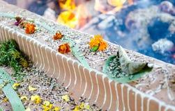 Brandceremonie met aanbiedingen van slechts plantaardige oorsprong tijdens Guru P stock afbeelding
