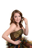 Bärande studentbalklänning för tonårig flicka Arkivbilder