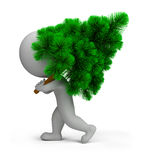 bärande tree för folk för jul 3d liten Royaltyfria Bilder