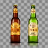 Branded bottles of beer realistic. Branded with label brown and green bottles of premium beer realistic illustration isolated on transparent. Traditional alcohol royalty free illustration
