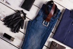 Branded clothing and accessories. Stylish set of men's clothing on a beautiful background. Branded clothing and accessories Royalty Free Stock Photography