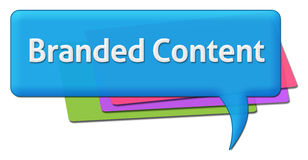 Branded Content Colorful Comment Symbol. Branded content text written over colorful comment symbol stock illustration