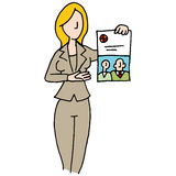 Branded document saleswoman. An image of a saleswoman displaying branded document royalty free illustration