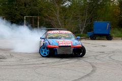 Branded drift car in action. Professional drift car in action at an event in Romania Stock Images
