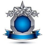 Branded golden geometric symbol with curvy ribbon, stylized silv Royalty Free Stock Photo