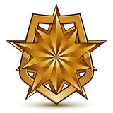 Branded golden geometric symbol, stylized golden polygonal star, Stock Photo