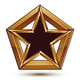 Branded golden geometric symbol, stylized star with black filling, best for use in web and graphic design, vector refined icon is. Branded golden geometric stock illustration