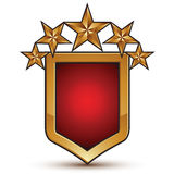 Branded golden geometric symbol, stylized stars. Branded golden geometric symbol with five stylized golden stars, graphic design, shield vector icon on white royalty free illustration