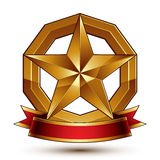 Branded golden symbol with stylized pentagonal glossy star and r Royalty Free Stock Image
