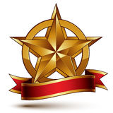 Branded golden symbol with stylized pentagonal glossy star and r. Ed decorative curvy ribbon, best for use in web and graphic design. Refined vector icon placed Royalty Free Stock Photography