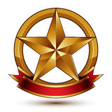 Branded golden symbol with stylized pentagonal glossy star Stock Images