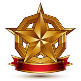 Branded golden symbol with stylized pentagonal glossy star. And red decorative curvy ribbon, best for use in web and graphic design. Refined vector icon placed stock illustration