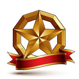 Branded golden symbol with stylized pentagonal glossy star. Branded golden symbol with stylized pentagonal glossy star and red decorative curvy ribbon, best Royalty Free Stock Photography