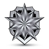 Branded gray geometric symbol, stylized silver star, best for us Royalty Free Stock Image