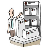 Branded packaging presentation. An image of a man displaying branded packaging stock illustration