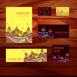 Branded papers. Vector picture with branded papers on a wooden table for confectionery stock illustration