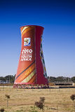 Branded Smoke Stack - FIFA WC. Large edge to edge graphics cover this landmark structure, found adjacent to the Soccer City Stadium Royalty Free Stock Photos