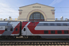 Branded two-storeyed train on the background of the railway station in Voronezh Royalty Free Stock Photo