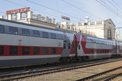 Branded two-storeyed train at Voronezh railway station Stock Image
