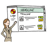 Branded web site presentation. An image of a woman presenting branded web site stock illustration