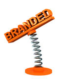 Branded. Word on spring loaded label, white background, concept of brands and business icons royalty free illustration