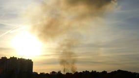 Branden över staden, tidschackningsperiod lager videofilmer