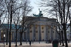 Brandenberg门突岩在冬天 免版税库存图片