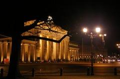 Brandenburg brama iluminująca przy nocą Zdjęcie Stock