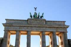 Brandenburg brama w Berlin przy wschodem słońca, Niemcy Obraz Stock