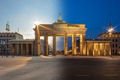 Brandenburg bramy nocy i dnia kompilacja Obraz Stock