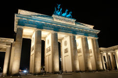 Brandenburg Gate. In the night, Berlin, Germany royalty free stock photography