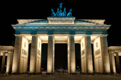 Brandenburg Gate. In the night, Berlin, Germany stock photo